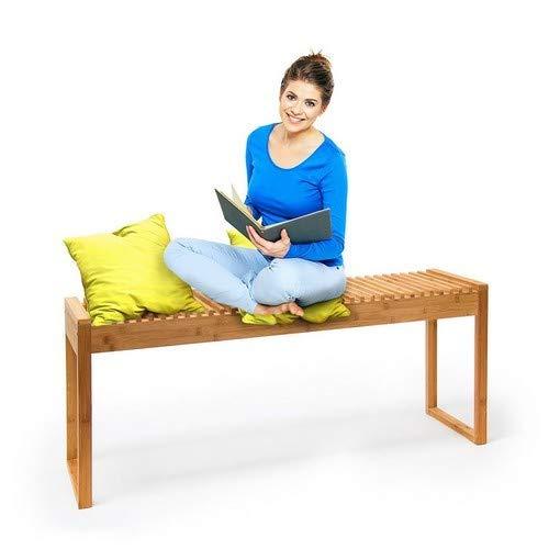 Relaxdays Sitzbank Bambus HxBxT: ca. 47 x 120 x 33 cm stabile und geräumige Gartenbank auch als Dielenbank mit Platz für 3-4 Personen aus Bambus für die Terrasse, den Balkon und die Wohnung, natur
