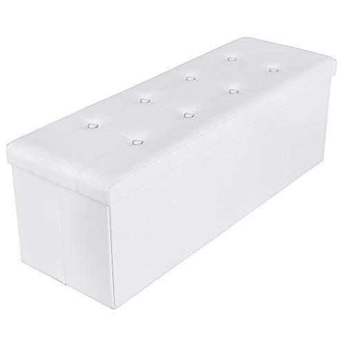 SONGMICS Sitzbank mit 120 L Stauraum, faltbar, Kunstleder, weiß, 110 x 38 x 38 cm LSF702