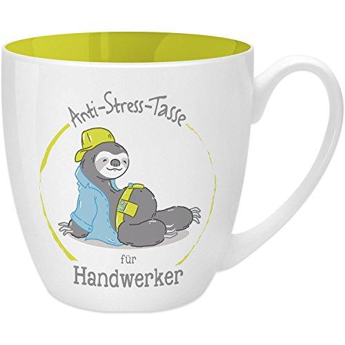 Gruss & Co 45490 Anti-Stress Tasse für Handwerker, 45 cl, Geschenk, New Bone China, Gelb, 9.5 cm